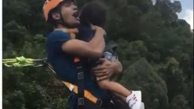 Photo of ¡Irresponsable! Se lanzó de 'bungee jumping' con su hija en brazos y sin seguridad