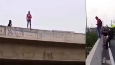 Photo of Intentó lanzarse de un puente y un Policía lo agarró