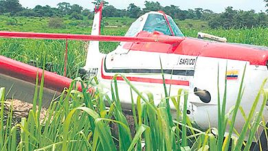 Photo of Cayó a tierra avioneta que fumigaba cultivo de arroz en Fundación