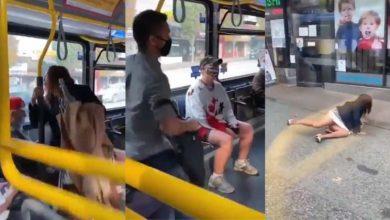 Photo of Lanzan de un bus a una mujer que iba sin tapabocas y escupió a un pasajero